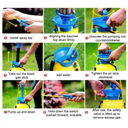 5L Manual Pressure Sprayer Garden Water Pump Portable Spray Penyembur Pam Baja Air Botol Spray Bunga