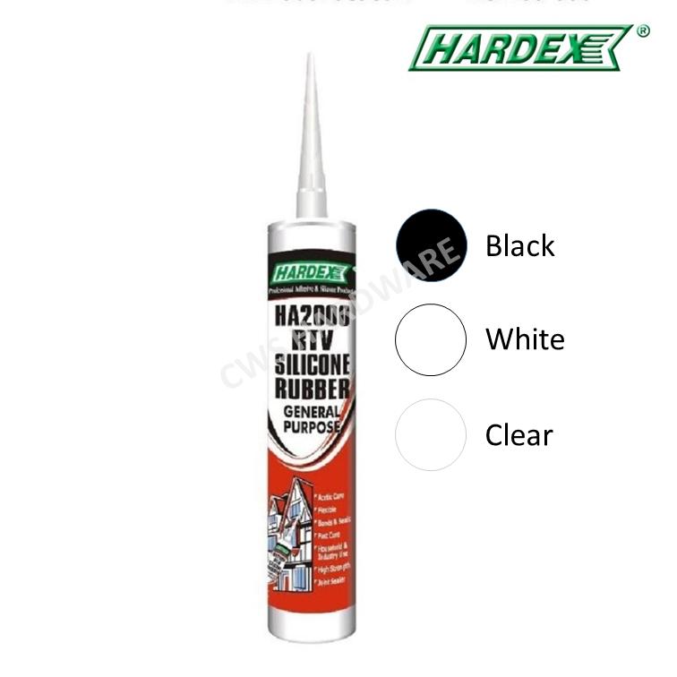 HARDEX HA2000 RTV Silicon Rubber General Purpose [Black / Clear / White]